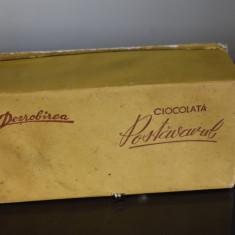 Cutie carton Dezrobirea Ciocolata Postavarul - perioada comunista / reclama
