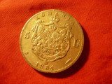 Moneda 5 lei 1881 Carol I Domn , argint ,cal.f.buna ,zgariat pe gat
