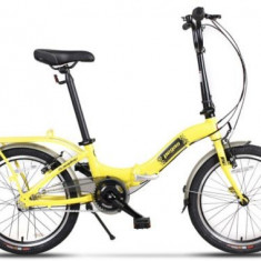 Bicicleta Pegas Camping 3S, Pliabila, Roti 20inch, 3 Viteze (Galben)