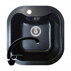 Pachet chiuveta soft compozit Square ARTITHEK + Baterie OSSIA Pyramis Set