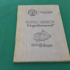 SUPLIMENT NOTIȚĂ TEHNICĂ COMBINA C1 TIP 59/1959