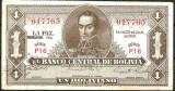 !!!  BOLIVIA  -  1  BOLIVIANO  1952  - P 128 c 2 - AUNC / CEA  DIN  SCAN