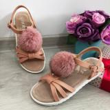 Cumpara ieftin Sandale roz elegante cu puf pt fete / talpa moale piele 31 32 33 34 35 36