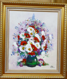 Tablou,Nicolae Blei,Flori,u/p,85x75 cm, Ulei, Realism