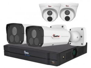 Kit supraveghere mixt IP 4 camere , 4 Megapixeli, IR pana la 60 metri SAF-IPCDM4MP30-28 si SAF-IPCBM4MP60-4