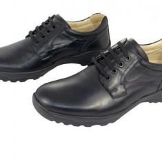 Pantofi casual barbati, piele naturala G-1410, negru cu siret, 41