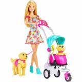 Jucarie Papusa Barbie cu caini si carucior CNB21 Mattel