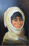 Tablou / Pictura fata cu basma alba semnat Cimpoesu dupa Grigorescu., Portrete, Ulei, Realism