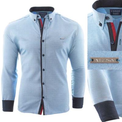 Camasa pentru barbati, slim fit, albastru deschis, casual, cu guler - enrico rizo willow foto