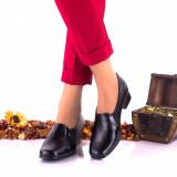 Pantofi dama din piele naturala, negri si piele naturala lacuita - NA80NPL, 35 - 40, Negru