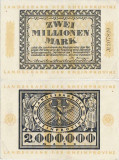 1923 (1 IX), 2.000.000 mark (Grabowski RPR.17a) - Germania  - stare XF+++/aUNC