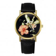 Ceas dama model flori exotice - negru, Quartz