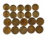 UNGARIA - Set Monede 10 Forint si 5 Forint Aurite = 20 bucati