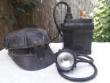 Casca miner romaneasca si lampa miner sovietica