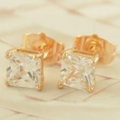 Cercei Brilliant dublu placati aur 18K
