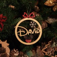 Ornament Brad Funda si Fulg de Zapada cu Sclipici - Personalizat
