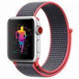 Curea compatibila Apple Watch, 42/44mm, nylon, roz/gri