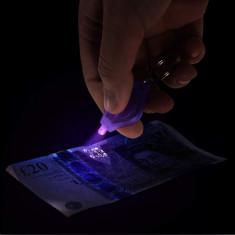 Breloc cu LED UV 385 nm, alimentare baterii, verificare bancnote, mov