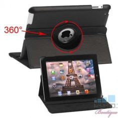 Husa Flip Cu Stand iPad 3 Piele PU Si Rotatie 360 Grade Neagra, Apple