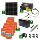Pachet gard electric cu Panou solar 3,1J putere și 4500m Fir 90Kg cu acumulator
