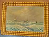 B924-Tablou peisaj marina vechi Furtuna in larg cu vase ulei/paza anii 1900., Marine, Realism