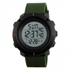 Ceas Barbatesc SKMEI CS1089, curea silicon, digital watch, functie cronometru, alarma, model verde