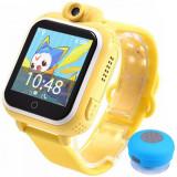 Ceas GPS Copii, iUni Kid730, 3G, DIGI Mobil, Touchscreen, GPS, LBS, Wi-Fi, Camera, buton SOS, Galben + Boxa Cadou