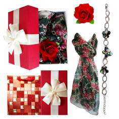 Pachet  cadou Valentine s Day, bratara cu fluturi din sidef, esarfa si brosa
