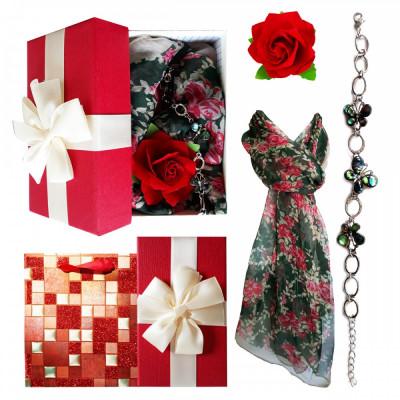 Pachet  cadou Valentine s Day, bratara cu fluturi din sidef, esarfa si brosa foto