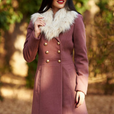 Palton StarShinerS mov elegant cu un croi cambrat din lana captusit pe interior cu guler din blana si buzunare, Rose