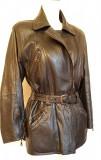 Cumpara ieftin Jacheta moderna din piele naturala, cu elastic in talie pe partea din spate