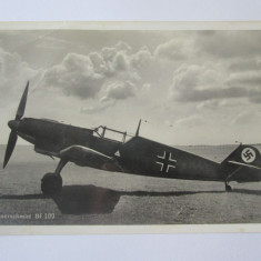 Carte postala/fotografie originala avion german vanatoare Messerschmitt Bf 109