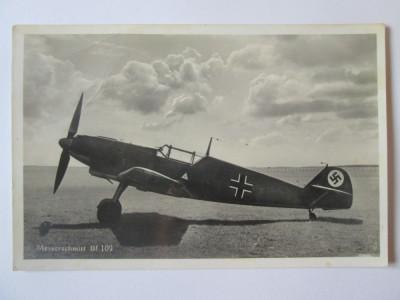 Carte postala/fotografie originala avion german vanatoare Messerschmitt Bf 109 foto