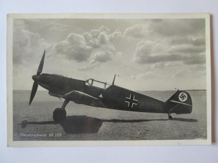 Carte postala/fotografie originala avion german vanatoare Messerschmitt Bf 109
