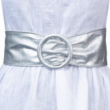 Curea argintie din piele ecologica cu latime de 7 cm, catarama rotunda