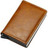 Portofel unisex, port card iUni P1, RFID, Compartiment 6 carduri, Maro ciocolatiu