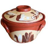 Oala ceramica, lut, cu decor, 500 ml, Cambanca, 016361,