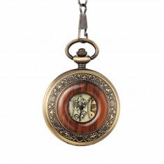 Ceas de buzunar Gorben skeleton cu insertie din lemn si lant Mecanic Vintage