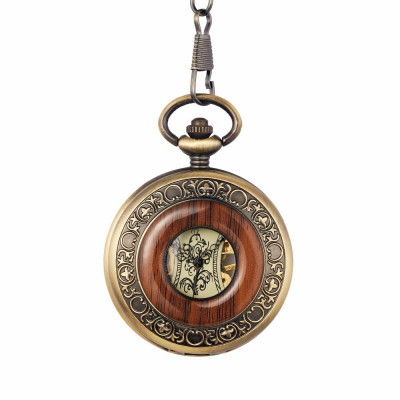 Ceas de buzunar Gorben skeleton cu insertie din lemn si lant Mecanic Vintage foto