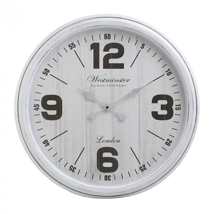 Ceas de perete Westminster, rotund, melamina, alb, diametru 51 cm