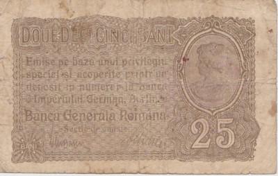 ROMANIA 25 BANI BGR 1917 UZAT CU STAMPILA foto