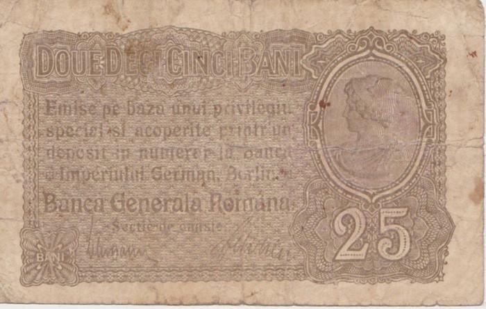 ROMANIA 25 BANI BGR 1917 UZAT CU STAMPILA