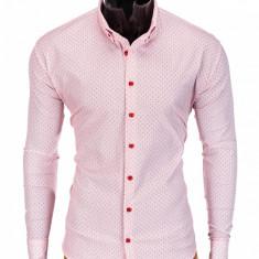 Camasa pentru barbati rosu cu guler slim fit elastica bumbac K392