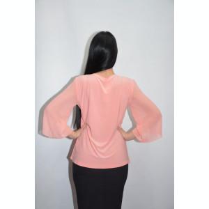 Bluza plisata din voal,nuanta corai