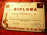 Diploma Premiul III -Fundatia Romana de Chitara-Festival Internat.Sinaia2016