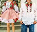 Cumpara ieftin Set Cuplu Traditional 77 Camasa Traditionala si Rochie cu motive traditionale