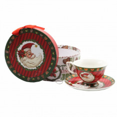 Ceasca ceai cu farfurie Mos Craciun