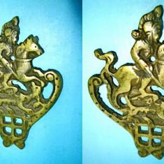 3181-I-SF. GHEORGHE ucigand  balaurul-aplica decorativa veche in bronz.