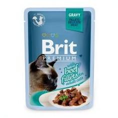 Pliculeț BRIT Premium Cat Delicate Fileuri în sos cu Vită 85 g