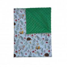 Ingrid's Fabrics Paturica bebelusi Minky - Animalue pe campie - Verde 75x95cm